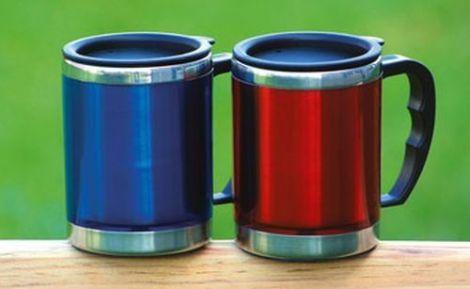 BasicNature Edelstahl Thermobecher 'Mug' mit Deckel blau