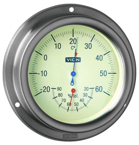 Vion Hygro-/Thermometer Ø 127 mm aus rostfreiem, gebürstetem Stahl