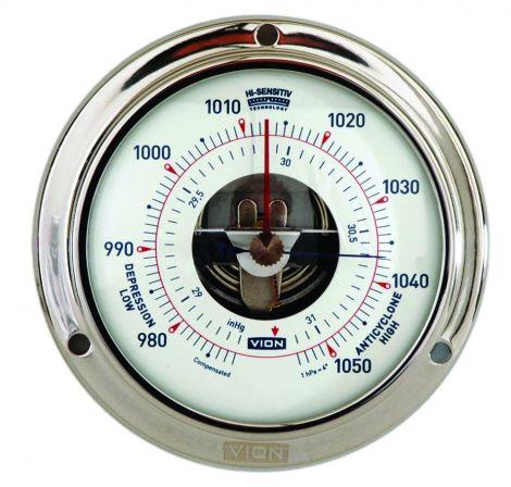 Vion Barometer Ø 97 mm aus poliertem, rostfreiem Stahl