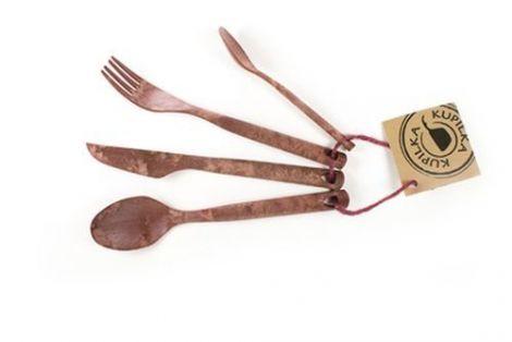 Kupilka Besteckset Eßlöffel, Gabel, Messer, Teelöffel braun