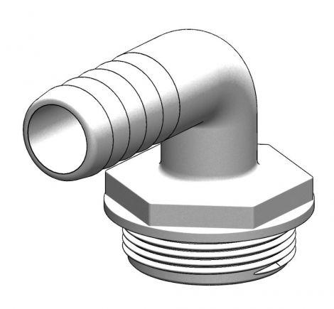 """Tru-design Schlauchanschlussstutzen Aquavalve 90° Ø1 1/2"""", Ø25mm"""