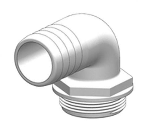 """Tru-design Schlauchanschlussstutzen Aquavalve 90° Ø1 1/2"""", Ø38mm"""