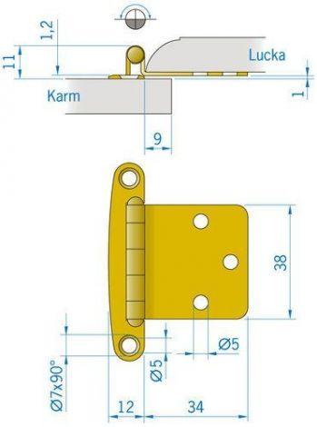 Messing-Beschlag 46 x 38 mm