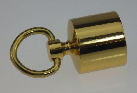 Endkappe - Endhalter mit Ring für Absperrseile messing glänzend