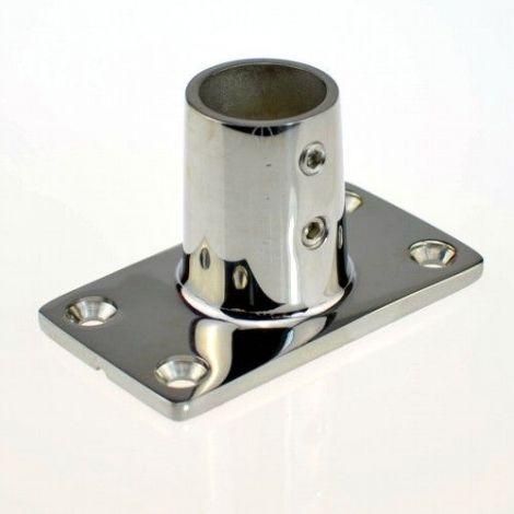 Relingfuss rechteckige Basis Edelstahl 25 mm