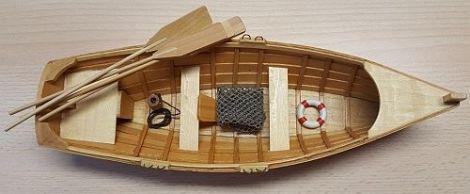 Fischerboot Holz Paddelboot Deko 30cm