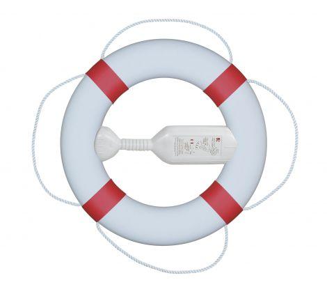 Fristad Plast Rettungsring FP380 mit Wurfleine, weiß mit roten Manschetten