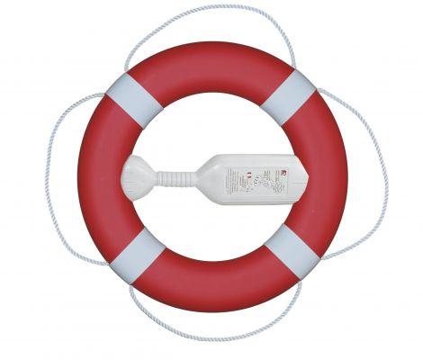 Fristad Plast Rettungsring FP380 mit Wurfleine, rot mit weißen Manschetten